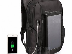 $46 with coupon for Water-resistant Solar Powered Backpack with USB Port  –  BLACK from GearBest