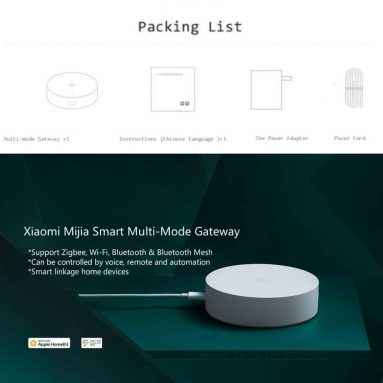 21 אירו עם קופון ל- XIAOMI Mijia Smart Multimode Gateway WIFI ZigBee3.0 WiFi Bluetooth / Bluetooth רשת עבודה עם Mijia APP אינטליגנטי בית רכזת IOS Homekit מ- Xiaomi Youpin מבנגגוד
