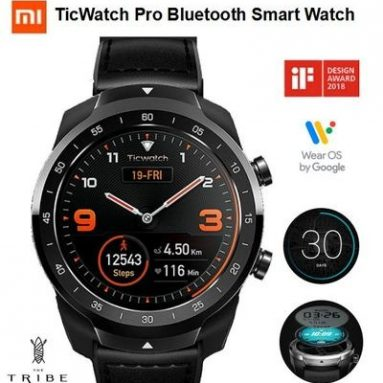 """€213 with coupon for XIAOMI TicWatch Pro Smartwatch 1.4"""" Round Dual Screen IP68 Waterproof AI Heart Rate Monitor Smart Bracelet from BANGGOOD"""