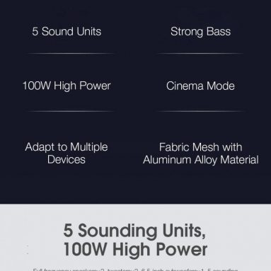 159 € με κουπόνι για Xiaomi 100W bluetooth 5.0 SoundBar + Subwoofer 6.5 ίντσες Home Theater Ηχείο τηλεόρασης 2.1 Κανάλι 5 Μονάδες ήχου Διεπαφή πολλαπλών εισόδων από την αποθήκη EU CZ BANGGOOD