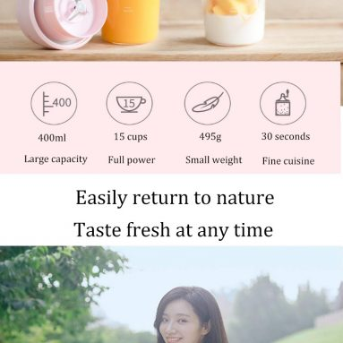 € 22 cu cupon pentru Xiaomi 17PIN 400ML Star Fruit Juicer Sticla portabilă Sucuri DIY Juice Extracter Cup Magnetic Charging Călătorie în aer liber - albă de la BANGGOOD
