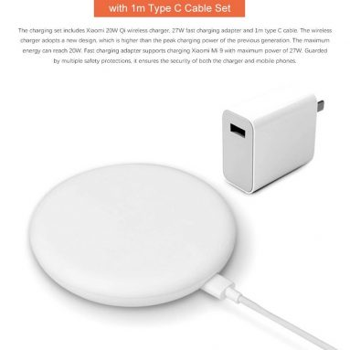 $27 with coupon for Xiaomi 20W Qi Wireless Charger & 27W Fast Charger Adapter with 1m Type-C Cable Set from GEARVITA