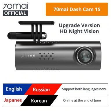 $ 35 với phiếu giảm giá cho 70mai 1S 1080P Dash Cam Smart WiFi Xe DVR - Phiên bản tiếng Anh đen từ GEARBEST