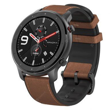 € 129 med kupong for Amazfit GTR 47MM AMOLED Smart Watch GPS + GLONASS 12 Sports Mode 5ATM Armbånd Internasjonal versjon fra xiaomi Eco-System - Brun aluminiumslegering fra BANGGOOD