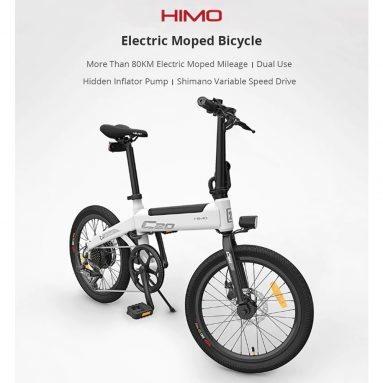 EU 독일 창고에서 Xiaomi HIMO C752 20 인치 접히는 20KM 범위 힘 원조 전기 자전거를위한 쿠폰을 가진 € 80 TOMTOP