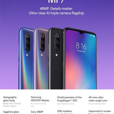 €319 with coupon for Xiaomi Mi9 Mi 9 Global Version 6.39 inch 48MP Triple Rear Camera NFC 6GB 64GB Snapdragon 855 Octa core 4G Smartphone – Blue from BANGGOOD