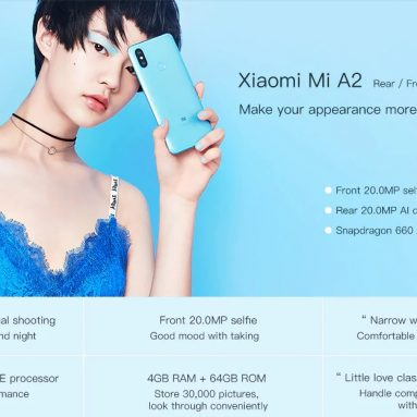 €263 with coupon for Xiaomi Mi A2 Global Version 6GB RAM 128GB ROM Smartphone from BANGGOOD