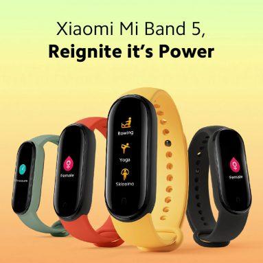 € 36 với phiếu giảm giá cho Xiaomi Mi band 5 1.1 Inch Dây đeo cổ tay AMOLED Đồng hồ tùy chỉnh Mặt 11 Chế độ thể thao Tracker Đồng hồ thông minh Phiên bản toàn cầu từ BANGGOOD