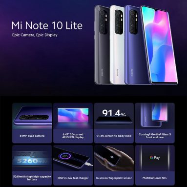 239 € με κουπόνι για Xiaomi Mi Note 10 Lite Smartphone Global Version 6 / 64GB από την αποθήκη EU SPAIN GSHOPPER