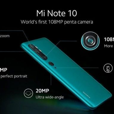 € 336 med kupong för Xiaomi Mi Note 10 Global version 6.47 inch 108MP Penta Camera NFC 5260mAh 6GB 128GB Snapdragon 730G Octa Core 4G Smartphone från BANGGOOD
