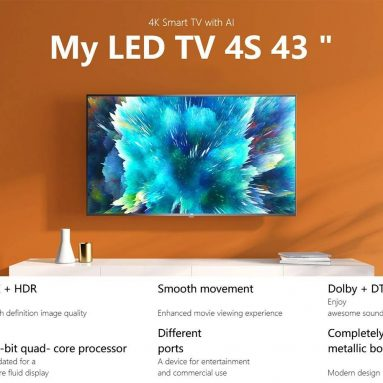 Xiaomi Mi TV 366S 4 인치 43K 스마트 TV DVB-T4 / C Android TV HDR Amlogic 2 비트 프로세서 Dolby Audio DTS HD HDMI * 64 USB * 3 Bluetooth EU 창고 용 쿠폰 포함 2 유로 GEEKBUYING