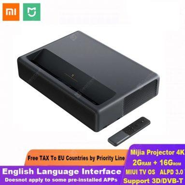 € 1749 Xiaomi Mijia लेजर प्रोजेक्शन टीवी 4K होम थियेटर 200 इंच वाईफ़ाई 2G रैम 16G अंग्रेजी इंटरफ़ेस के लिए कूपन के साथ GEARBEST से