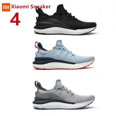 €43 with coupon for Xiaomi Mijia Sneakers 4 Machine Washable Ultralight Cloud Elastic PU Midsole 4D Fly Woven Fishbone Lock System Antibacterial Sports Running Shoes Men Sneakers from BANGGOOD