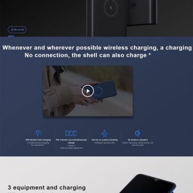 $37 with coupon for Xiaomi PLM11ZM Wireless Charger Power Bank 10000mAh from EU SPAIN Warehouse BANGGOOD