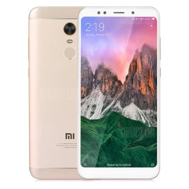$139 with coupon for Xiaomi Redmi 5 Plus 4G Phablet 3GB RAM 32GB ROM Global Version  –  GOLDEN from GearBest