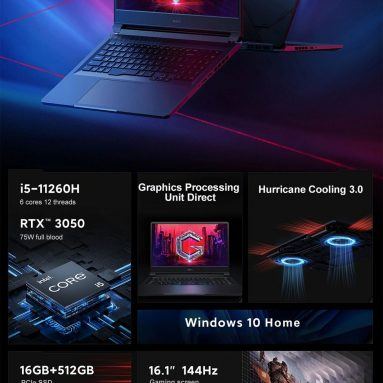 1150 € με κουπόνι για Xiaomi Redmi G 2021 Gaming Laptop 16.1 ιντσών 144 Hz 100%sRGB Οθόνη Intel Core i5-11260H NVIDIA GeForce RTX3050 GPU Direct 16 GB RAM 3200MH512CIHz 55GGOD Backbook