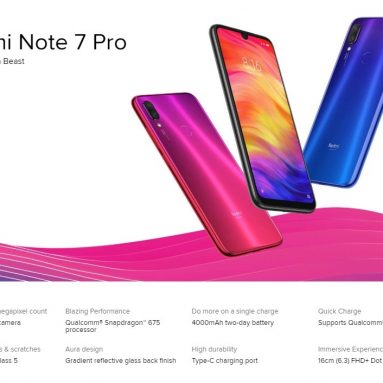 €198 with coupon for Xiaomi Redmi Note 7 Pro 4G Smartphone 6GB RAM 128GB ROM Chinese & English Version from GEARVITA