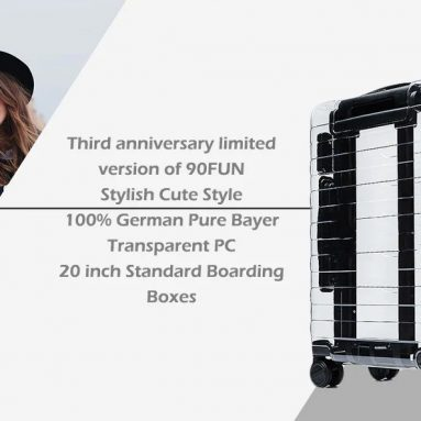 €135 with coupon for Xiaomi Youpin 90FUN Stylish Suitcase 33L Capacity PC Material – TRANSPARENT from GearBest