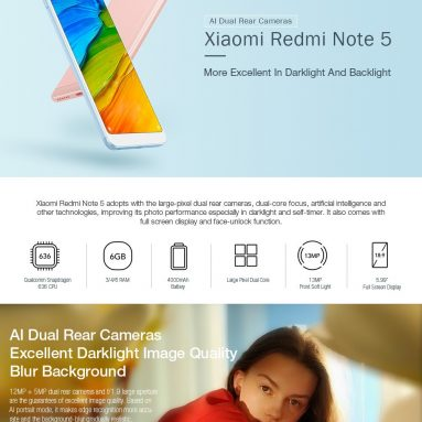 €185 with coupon for [Official Global Version]Xiaomi Redmi Note 5 5.99 Inch 4G Smartphone Snapdragon 636 Soc 4GB 64GB from GEEKBUYING