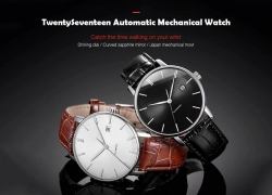 $78 with coupon for Xiaomi youpin Light and Fashionable Automatic Mechanical Watch – BLACK from GearBest