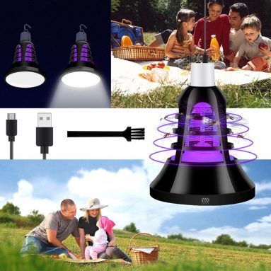 $12 with coupon for YWXLight Mosquito Killer Trap Lamp LED Light Fly Zapper Insect Bulb Outdoor – BLACK from GearBest