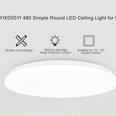 $59 with coupon for Yeelight YILAI YlXD05Yl 480 Simple Round LED Smart Ceiling Light for Home EU warehouse from GearBest