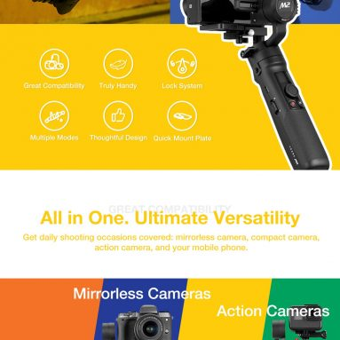 €199 with coupon for ZHIYUN Original Crane M2 Gimbals for Smartphones Mirrorless Action Compact Camera Handlebar Stabilizer from BANGGOOD