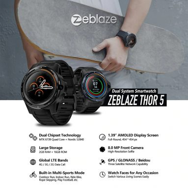 €124 with coupon for Zeblaze THOR 5 Dual System 1.39 inch AOMLED Screen Smart Watch Phone – Black from GEARBEST