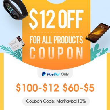 Paypal độc quyền !! Phiếu giảm giá $ 12 cho tất cả các sản phẩm từ CÔNG TY TNHH CÔNG NGHỆ BANGGOOD