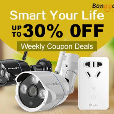 Až 30% OFF Nabídky týdenních kupónů společnosti BANGGOOD TECHNOLOGY CO., LIMITED