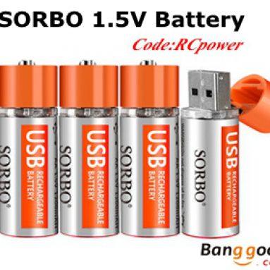 10% OFF SORBO 1.5V 1200mAh Baterai Isi Ulang USB dari BANGGOOD TECHNOLOGY CO., LIMITED