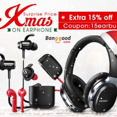 BANGGOOD TECHNOLOGY CO., LIMITED의 이어폰 크리스마스 세일을위한 15 % OFF
