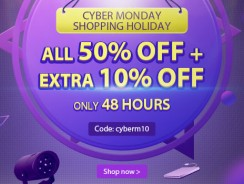 Cyber Monday Shopping Holiday, All 50% OFF+Extra 10% OFF Coupon from Newfrog.com