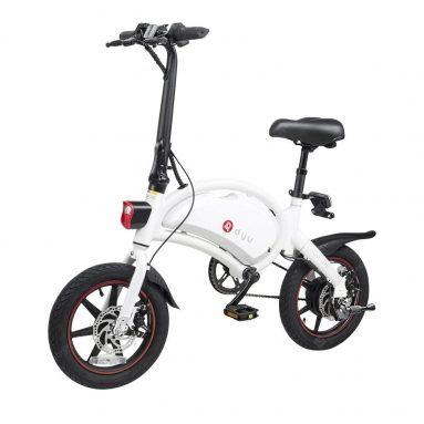 € 501 med kupon til dyu D3plus Bærbar sammenklappelig elektrisk knallert cykel Maksimal hastighed 25 kmh Bike 36V 10AH Batteri - White Germany Warehouse from GEARBEST