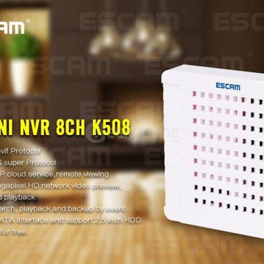 $ 10 av COUPON for ESCAM K508 HD Mini NVR 8CH 1080P IP-kamera fra Geekbuying
