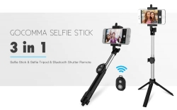 $ 4 עם קופון עבור Gocomma 3 ב 1 כף יד להרחבה Bluetooth Self Stick מקל חצובה Monopod שלט רחוק - שחור מ GearBest
