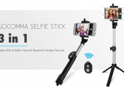 $4 with coupon for gocomma 3 in 1 Handheld Extendable Bluetooth Selfie Stick Tripod Monopod Remote Control – BLACK from GearBest