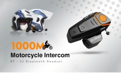 Gocomma BT için kupon ile $ 59 - S2 1000m Bluetooth Kask Kulaklık Motosiklet Intercoms 2pcs - GearBest gelen SIYAH AB PLUG