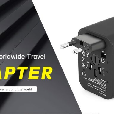 $5 with coupon for gocomma Universal Travel Adapter with 4 USB Ports – BLACK from Gearbest