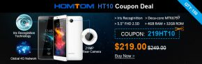 """12% OFF for HOMTOM HT10 5.5 """"FHD MTK6797 Deca-core Iris Recognition Android 6.0 4G Telefon fra TinyDeal"""
