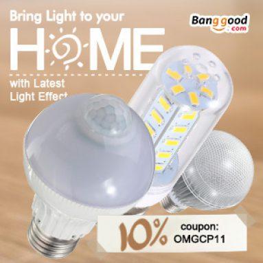 10% הנחה עבור E27 נורת LED מ BANGGOOD טכנולוגיה ושות ', מוגבלת