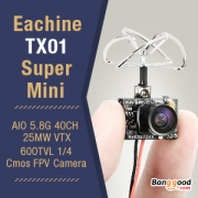16% OFF Hot Sale of Eachine TX01 Super Mini AIO 5.8G 40CH 25MW VTX FPV Camera from BANGGOOD TECHNOLOGY CO., LIMITED