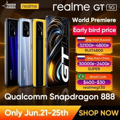393 € mit Gutschein für Weltpremiere Realme GT 5G Telefon Global Version Snapdragon 888 65W Super Dart Charge 120Hz 6.43″ AMOLED 8GB 128GB NFC von ALIEXPRESS