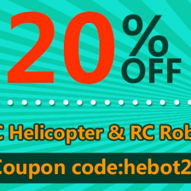 20% OFF pro RC vrtulníky a RC roboty od společnosti BANGGOOD TECHNOLOGY CO., LIMITED