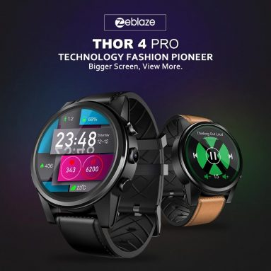 €91 with coupon for Zeblaze THOR 4 Pro Built-in GPS 4G Wifi 1.6 inch LTPS Crystal Display 1+16G Android7.1 600mAh Leather Strap Watch Phone EU UK WAREHOUSE from BANGGOOD